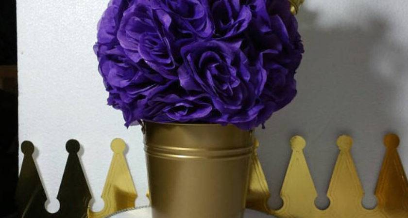 Flower Pail Purple Gold Baby Shower Table
