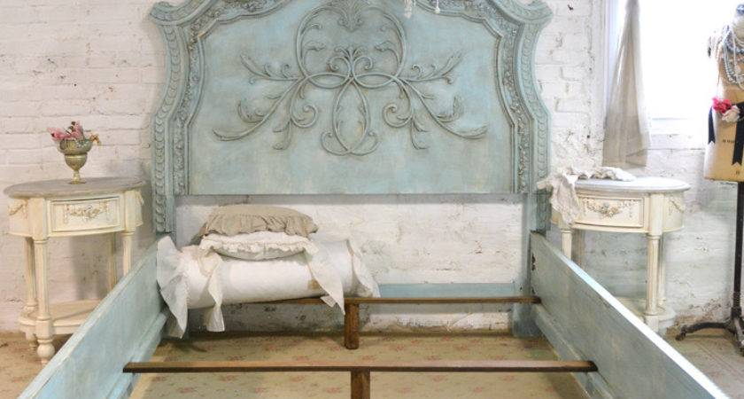 French Bed Painted Cottage Shabby Chic Queen