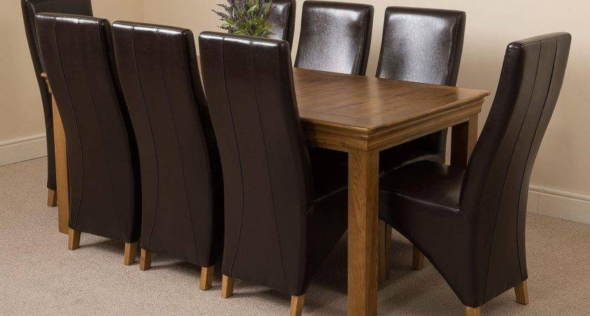 French Chateau Large Dining Set Brown Chairs Oak