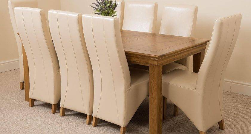 French Chateau Large Dining Set Ivory Chairs Oak