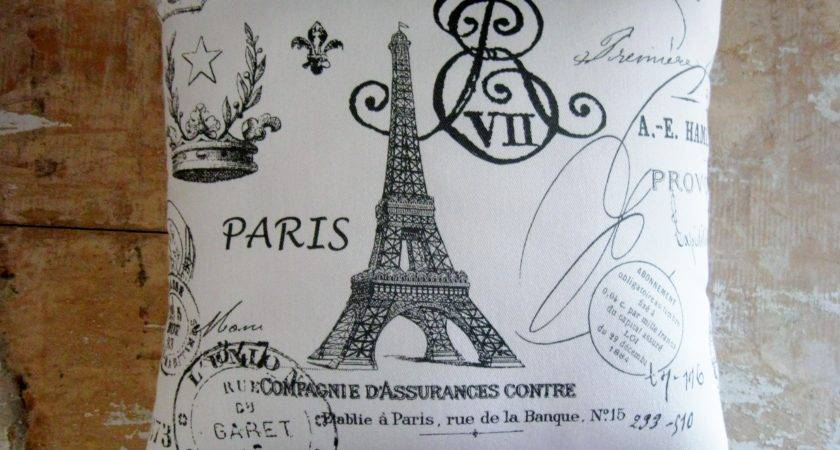 French Country Pillow Decor Eiffel Tower Paris