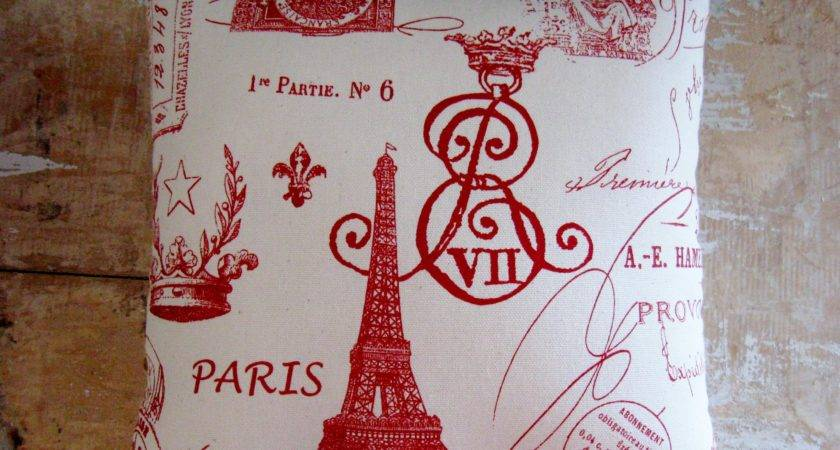 French Country Pillow Paris Decor Eiffel Tower Cottage
