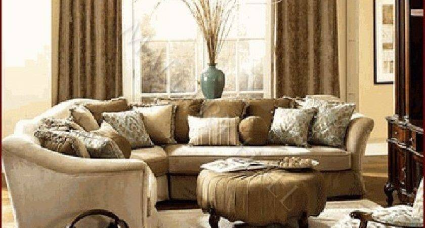 French Gold Curved All Fabric Sectional Sofa Seating