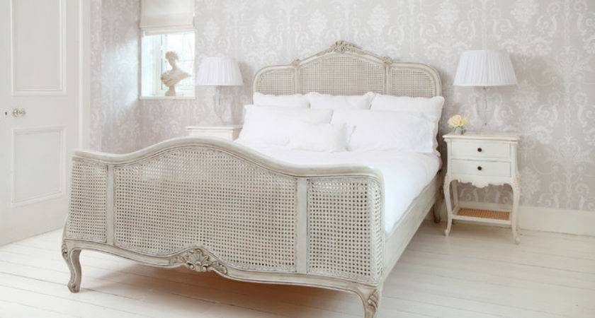 French Grey Rattan Bed Shabby Chic Style