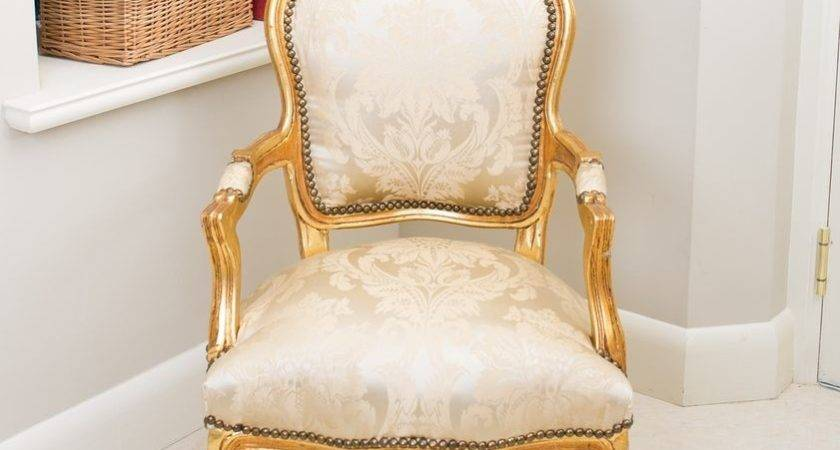 French Louis Armchair Gold Damask Shabby Chic Bedroom