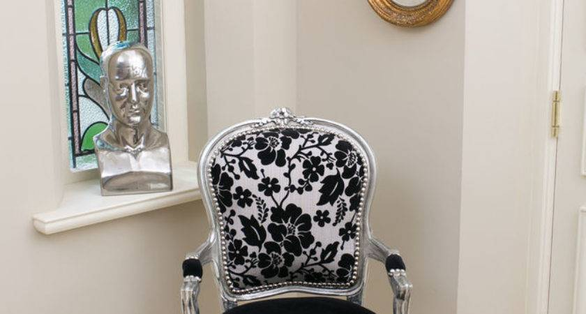French Louis Armchair Silver Black Shabby Chic Bedroom