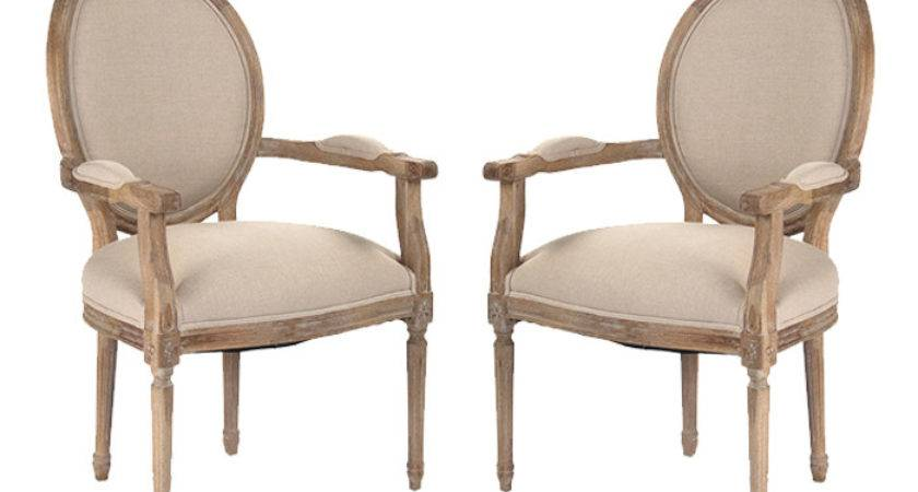 French Medallion Arm Chairs Distressed Wood