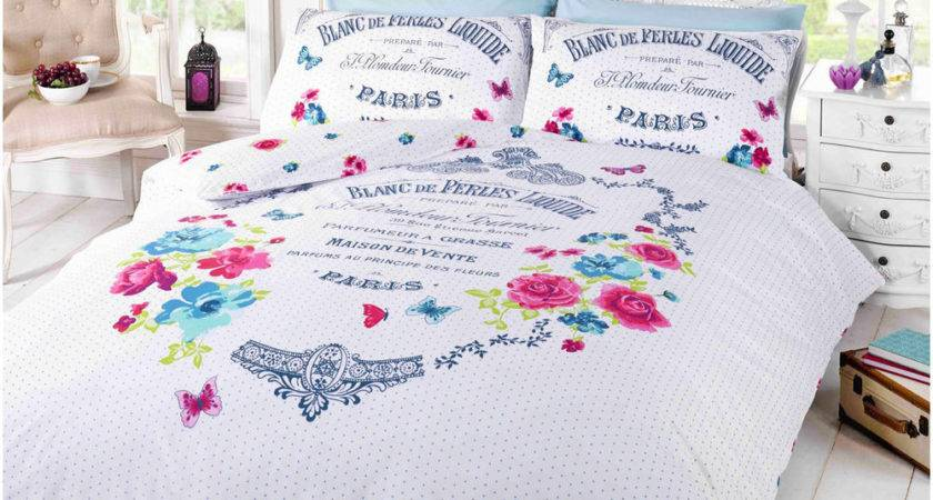 French Paris Duvet Cover Shabby Chic Floral Butterfly