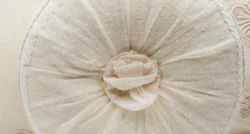 French Shabby Chic Lace Cushion Throw Pillow Cream Round