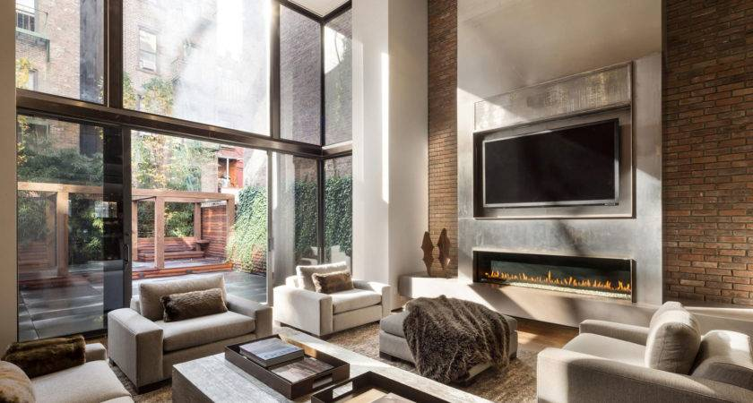 Furniture Fireplace Designs Above Living Room Sofa