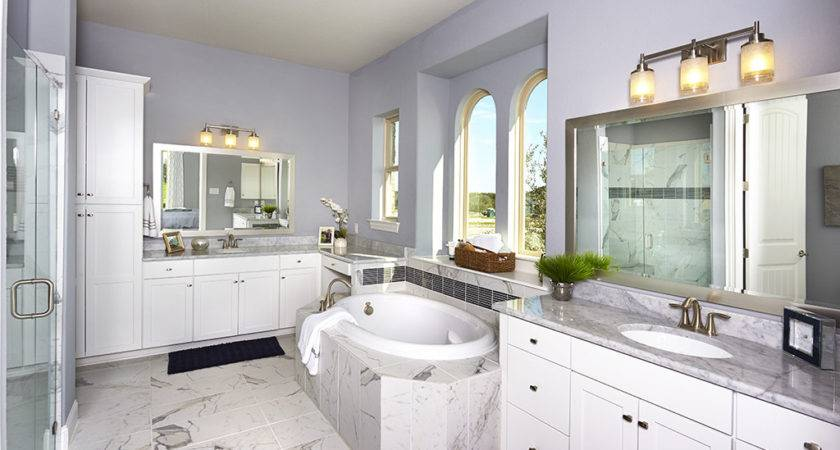 Gehan Homes Master Bathroom Lavender Walls Gray Tile