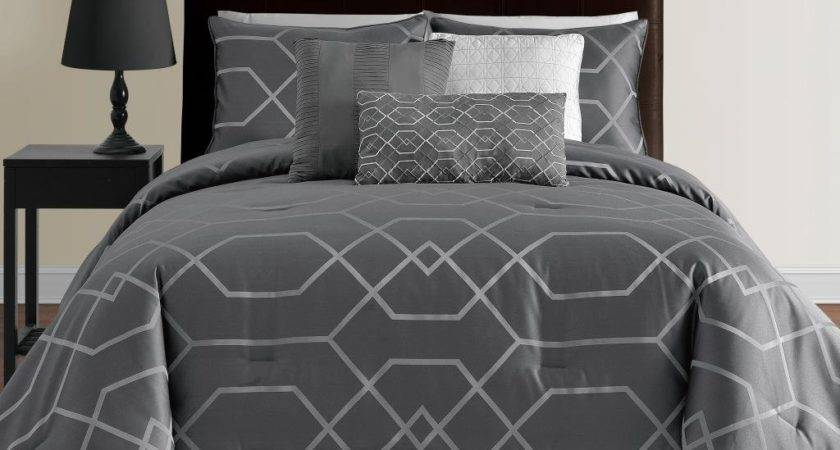 Geometric Grey Satin Bedding Set Modern Master Bedroom