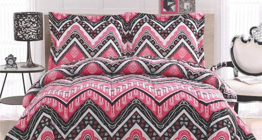 Girl Teen Zigzag Chevron Black White Pink Twin