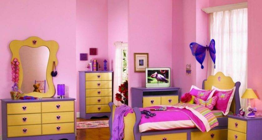 Girls Bedroom Gorgeous Yellow Pink Purple Girl