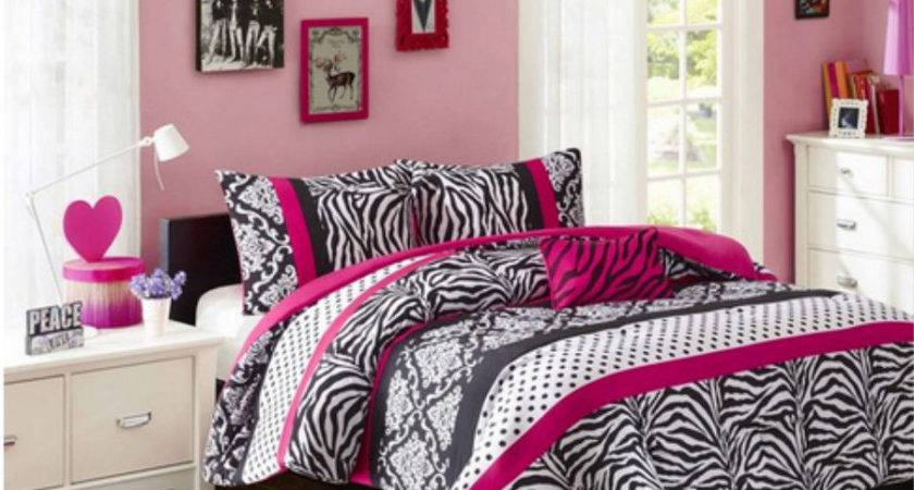 Girls Teen Pink Black Damask Dots Zebra Stripe Comforter