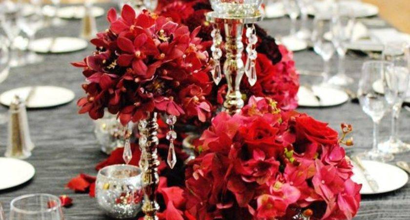Glamorous Red Centerpieces Wedding Tables