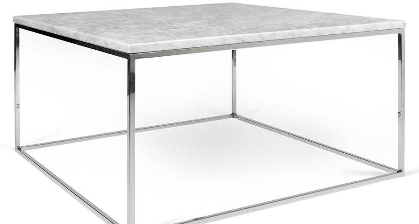 Gleam White Marble Chrome Modern Coffee Table Eurway