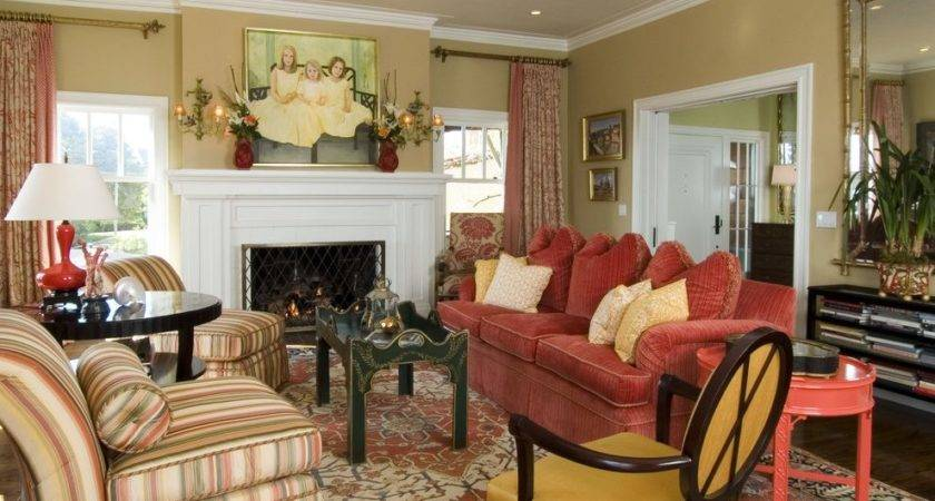 Gold Burgundy Living Room Mediterranean