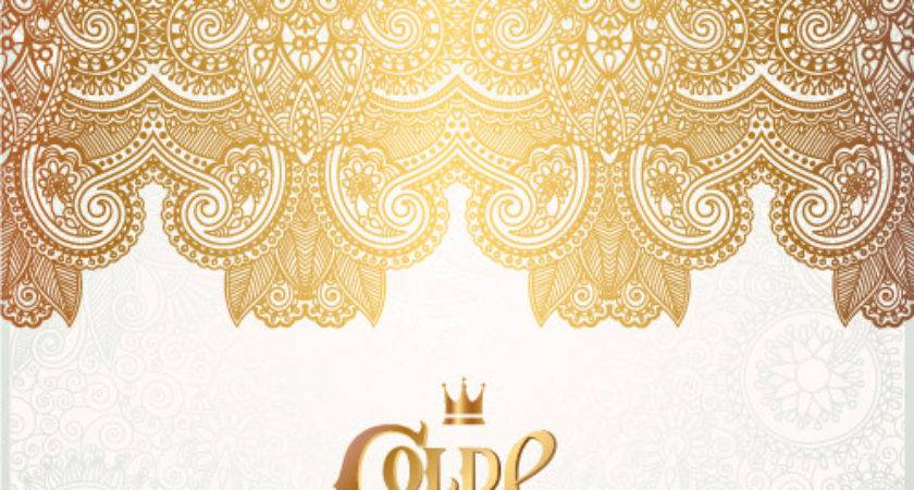 Gold White Floral Ornaments Vector