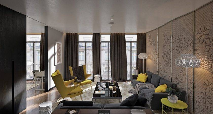 Gorgeous Living Room Design Yellow Accents Roohome