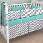 Gray Chevron Teal Crib Bedding Set Convertiblecoveralls