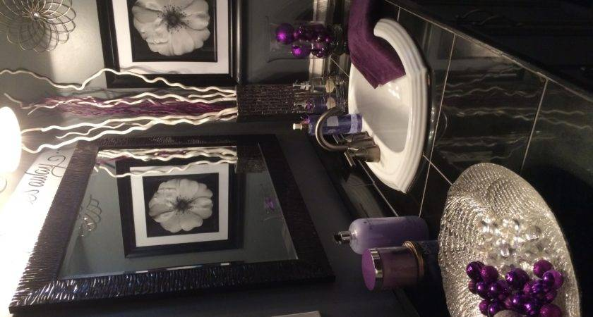 Gray Lavender Bathroom Also Black Varnished Wooden