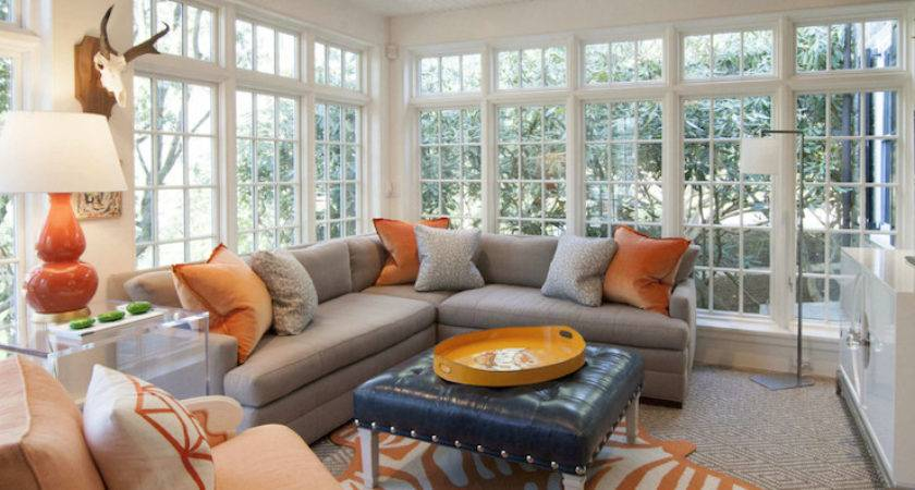 Gray Orange Living Rooms Contemporary Room