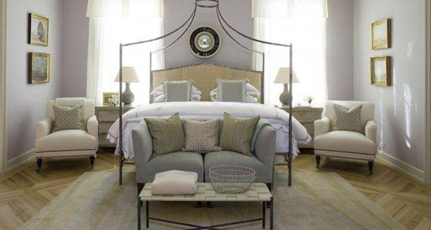 Gray Purple Paint Color Transitional Bedroom