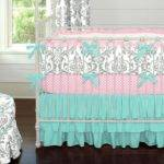 Gray Teal Damask Crib Bedding Carousel Designs