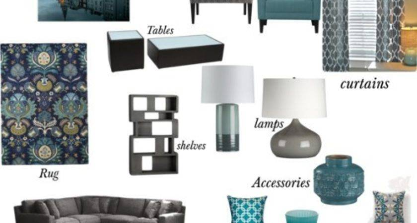 Gray Teal Living Room Polyvore