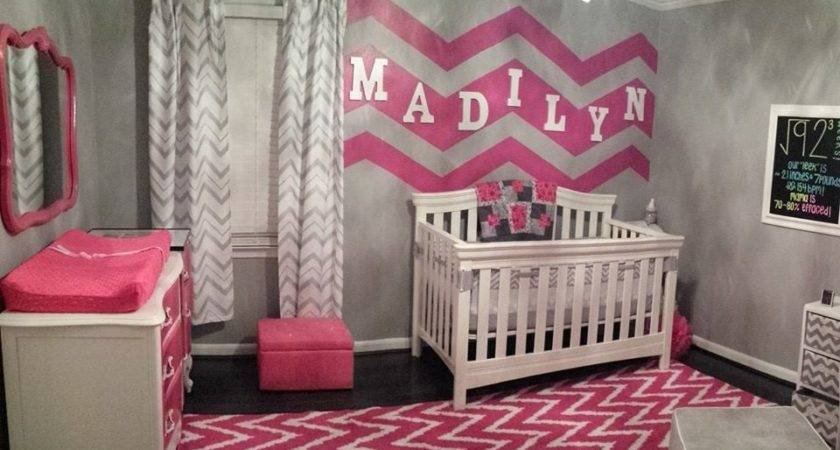 Gray White Hot Pink Chevron Nursery Project