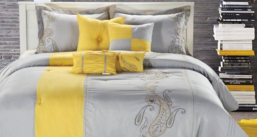 Gray Yellow Bedroom Home Design Ideas