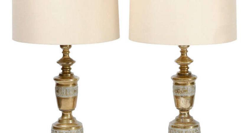 Grecian Style Brass Table Lamps Stdibs