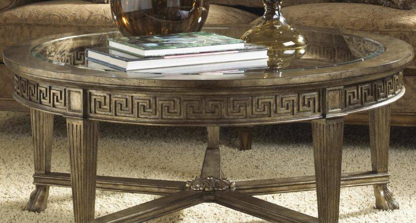 Grecian Style Round Coffee Table Glass Top
