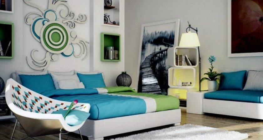 Green Blue White Contemporary Bedroom Design Creative Wall