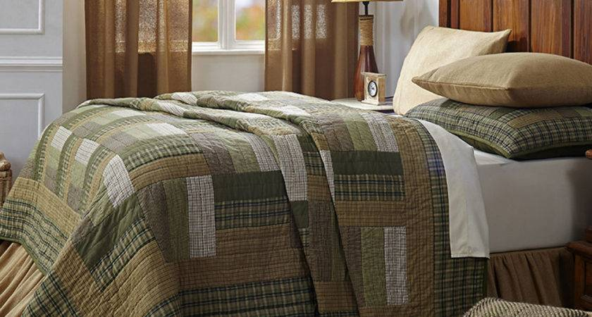 Green Brown Plaid Rustic Lodge Log Cabin Country Home