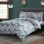 Green Grey White Chevron Geometric Piece Comforter