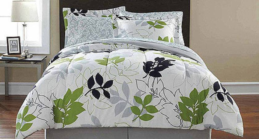 Green Leaves Gray Leaf Comforter Sheets Sham Set Dorm Teen
