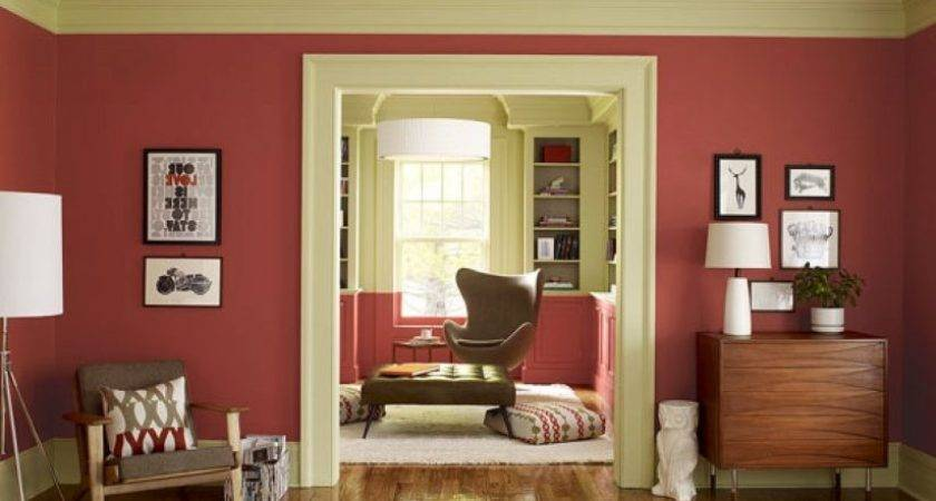 Green Olive Drab Painted Wall Most Popular Living Room