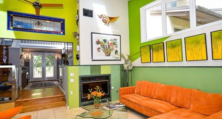 Green Orange Living Room Decor