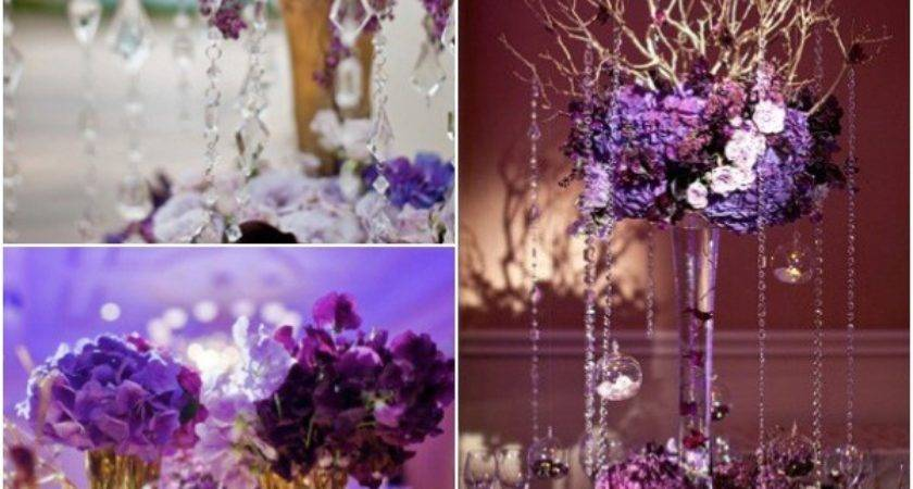 Green Purple Wedding Table Centerpiece