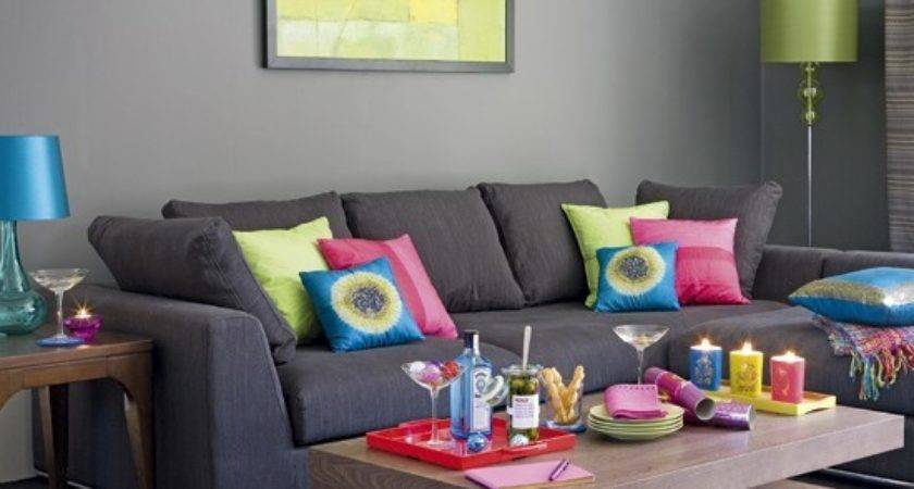 Grey Living Room Sofas Colourful Cushions