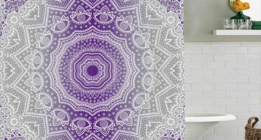 Grey Purple Shower Curtain Soozone