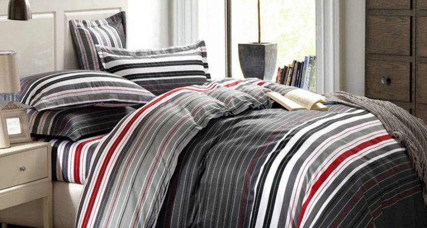 Grey Red Stripes Printing Bedding Set Queen Bed
