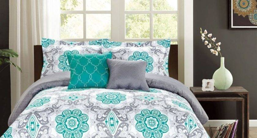 Grey Teal Cozy Bedding Sets Stairs Drawers