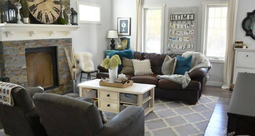 Grey Teal Green Living Room Design