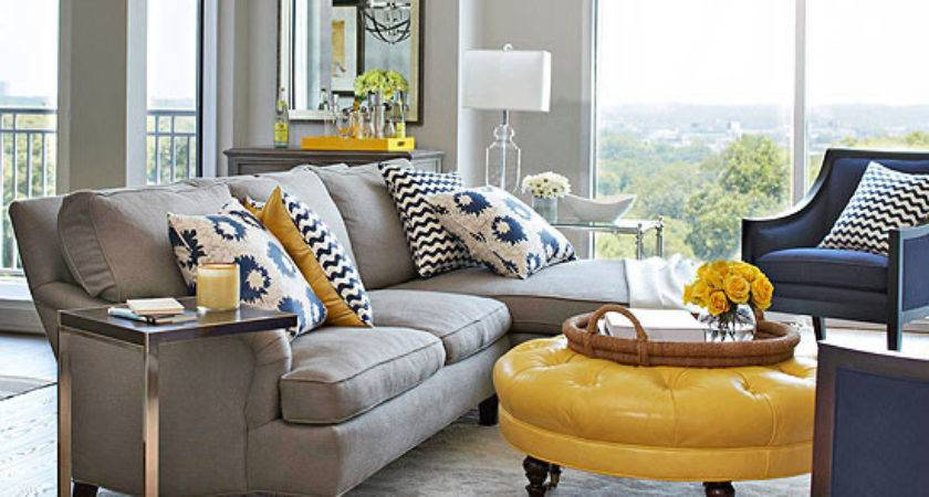 Grey Yellow Living Room Decor Grasscloth