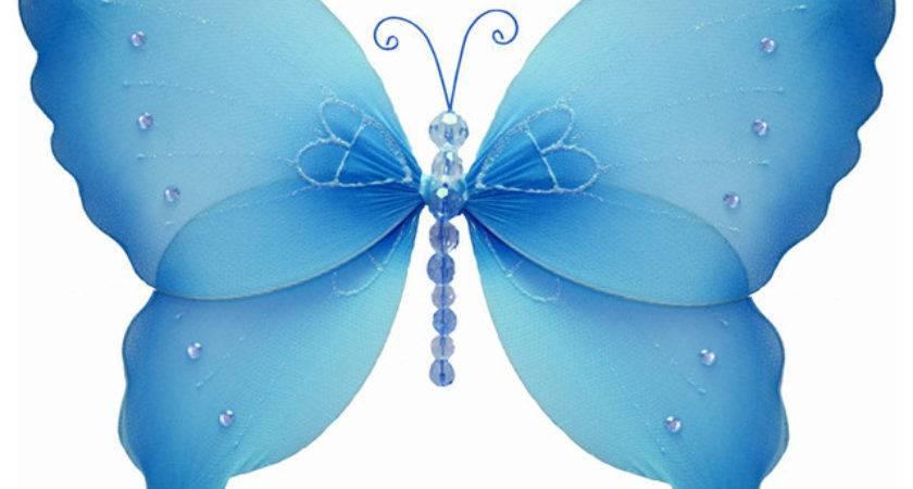 Hanging Butterfly Small Blue Crystal Nylon Butterflies