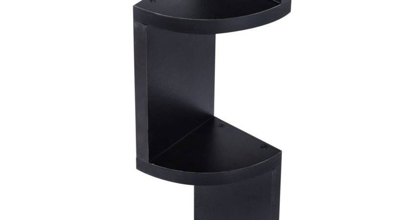 Homcom Tier Wall Mount Floating Corner Shelf Black