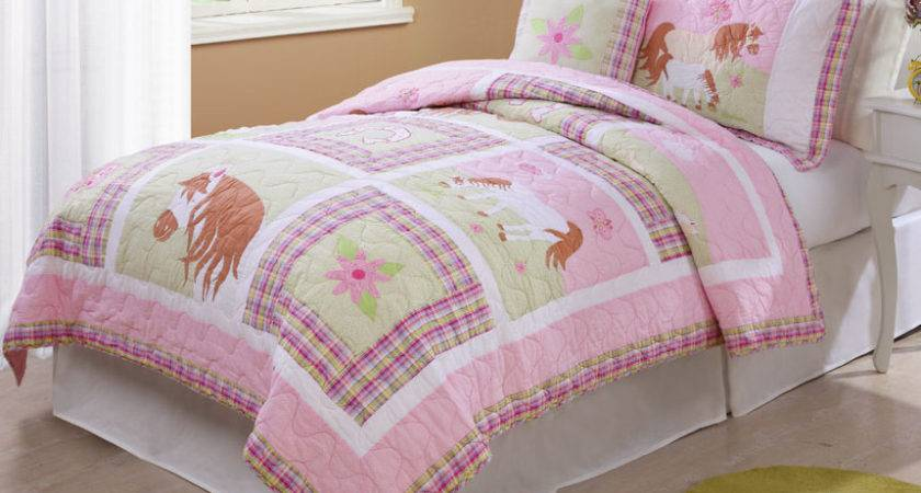 Horse Bedding Pink Love Quilt Twin